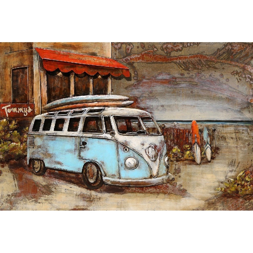 Metal Art 3D schilderij 'Surf bus'