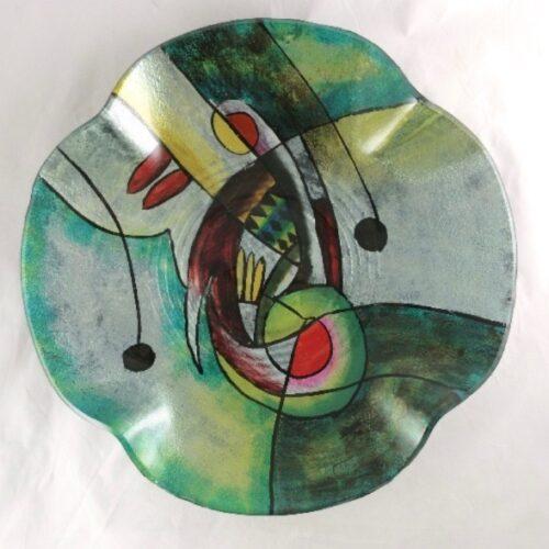 Design glas handbeschilderd schaal 'Green Sigi'
