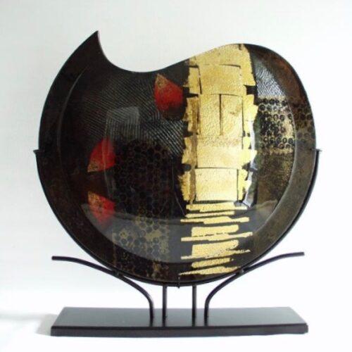 Design glas handbeschilderd 'Vaas maanvorm Gold'