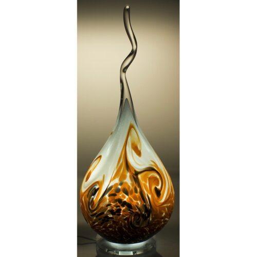 Arno France kristalglas sculptuur met led verlichting 'Brown Flame'