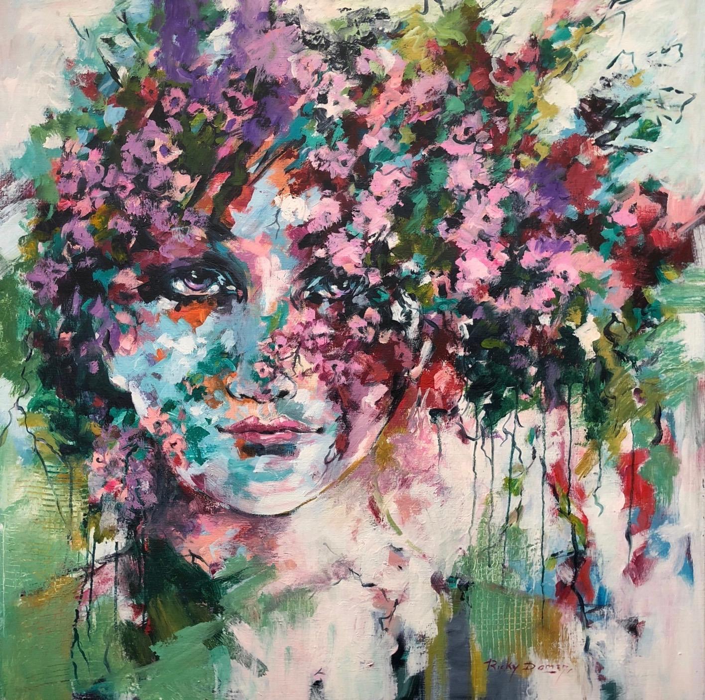 Ricky Damen schilderij 'Flowerface'