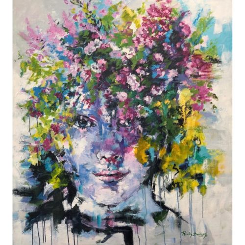 Ricky Damen schilderij 'Flowerface two'