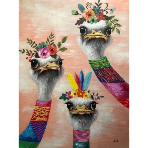 Schilderij 'Party Struisvogels'