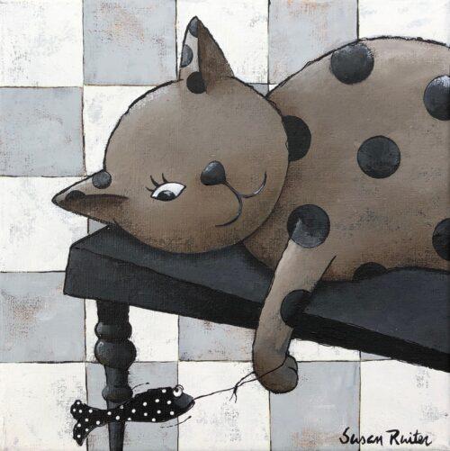 Susan Ruiter tegeltje 'Lazy Cat I'