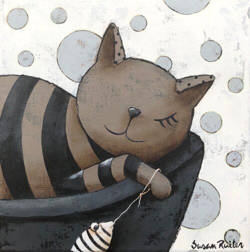 Susan Ruiter tegeltje 'Lazy Cat IV'