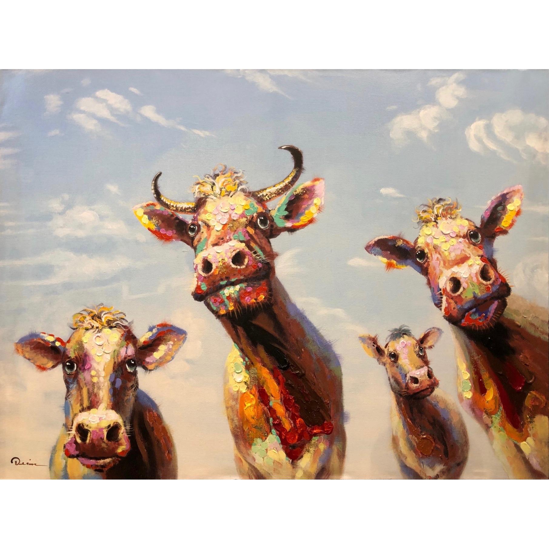 Schilderij op linnen 'Nieuwsgierige koeien'