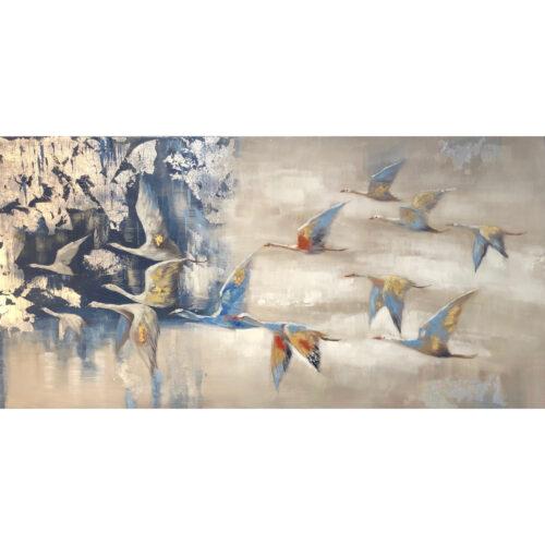 Schilderij op linnen 'Vogeltrek'