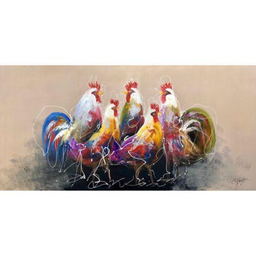 Casper van Houten schilderij 'Kippen'