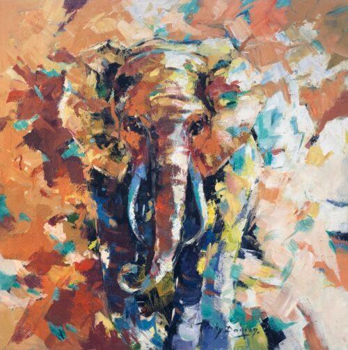 Ricky Damen schilderij 'Olifant'