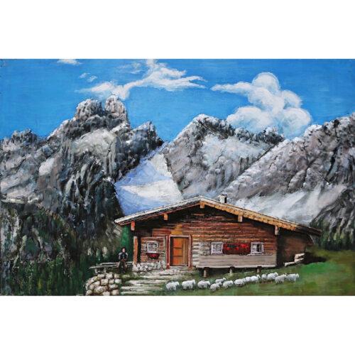 Metal Art 3D schilderij 'Chalet in de Alpen'