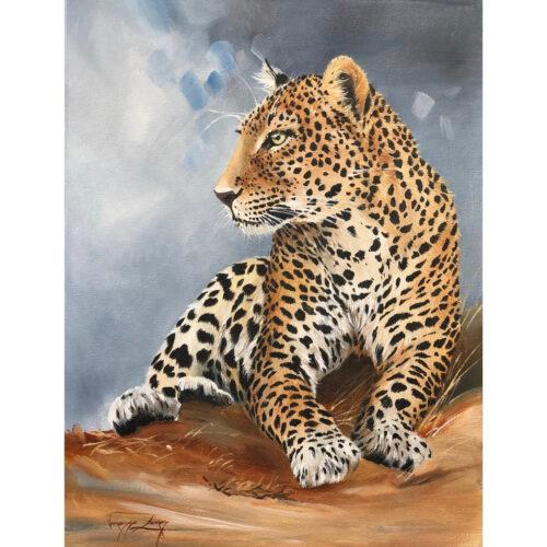 Vanessa Lomas schilderij 'Leopard Resting'