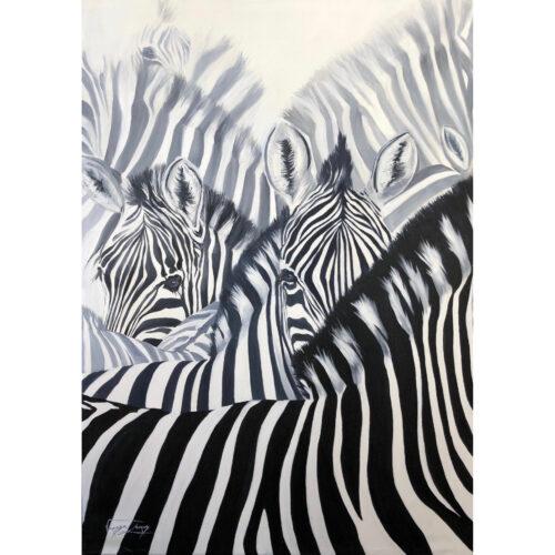 Vanessa Lomas schilderij 'Zebra Stripes'