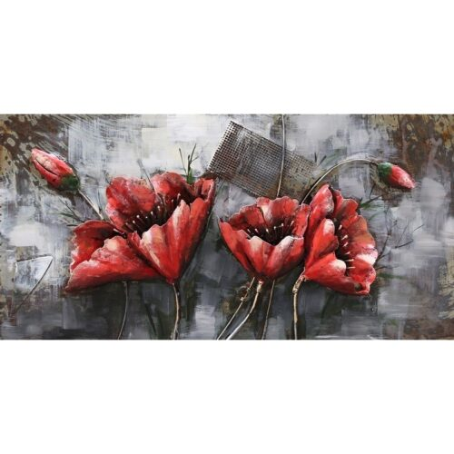 Metal Art 3D schilderij 'Red Flowers'
