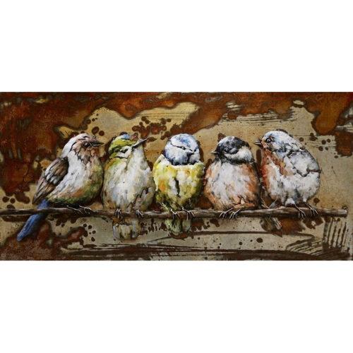 Metal Art 3D schilderij 'Vogeltjes'