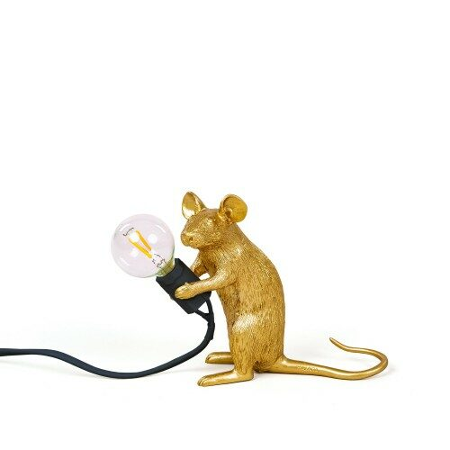 Seletti mouse lamp Mac Gold 'Sitting'
