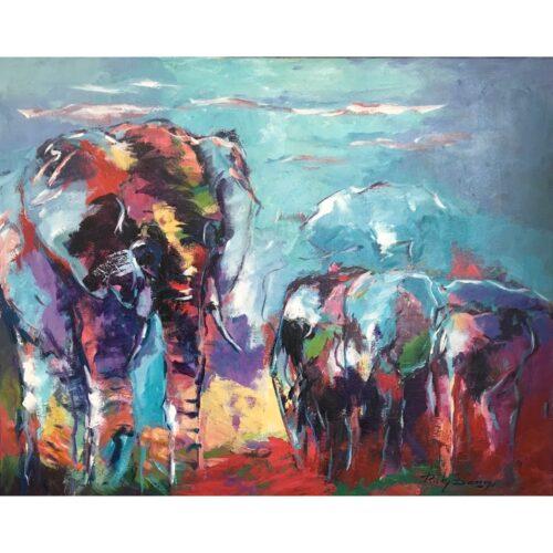 Ricky Damen schilderij 'Olifanten familie'