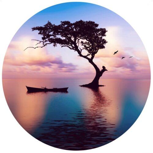 Foto op glas rond 'Sunset'