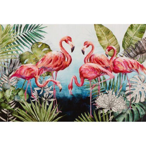 Schilderij op linnen 'Flamingo family'