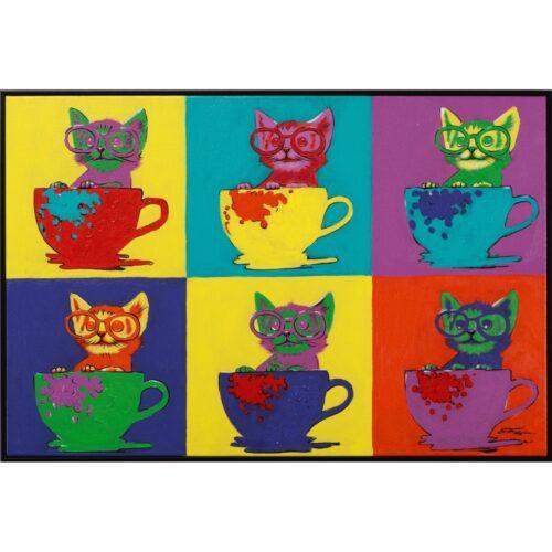 Schilderij op linnen 'Pop Art Cats'