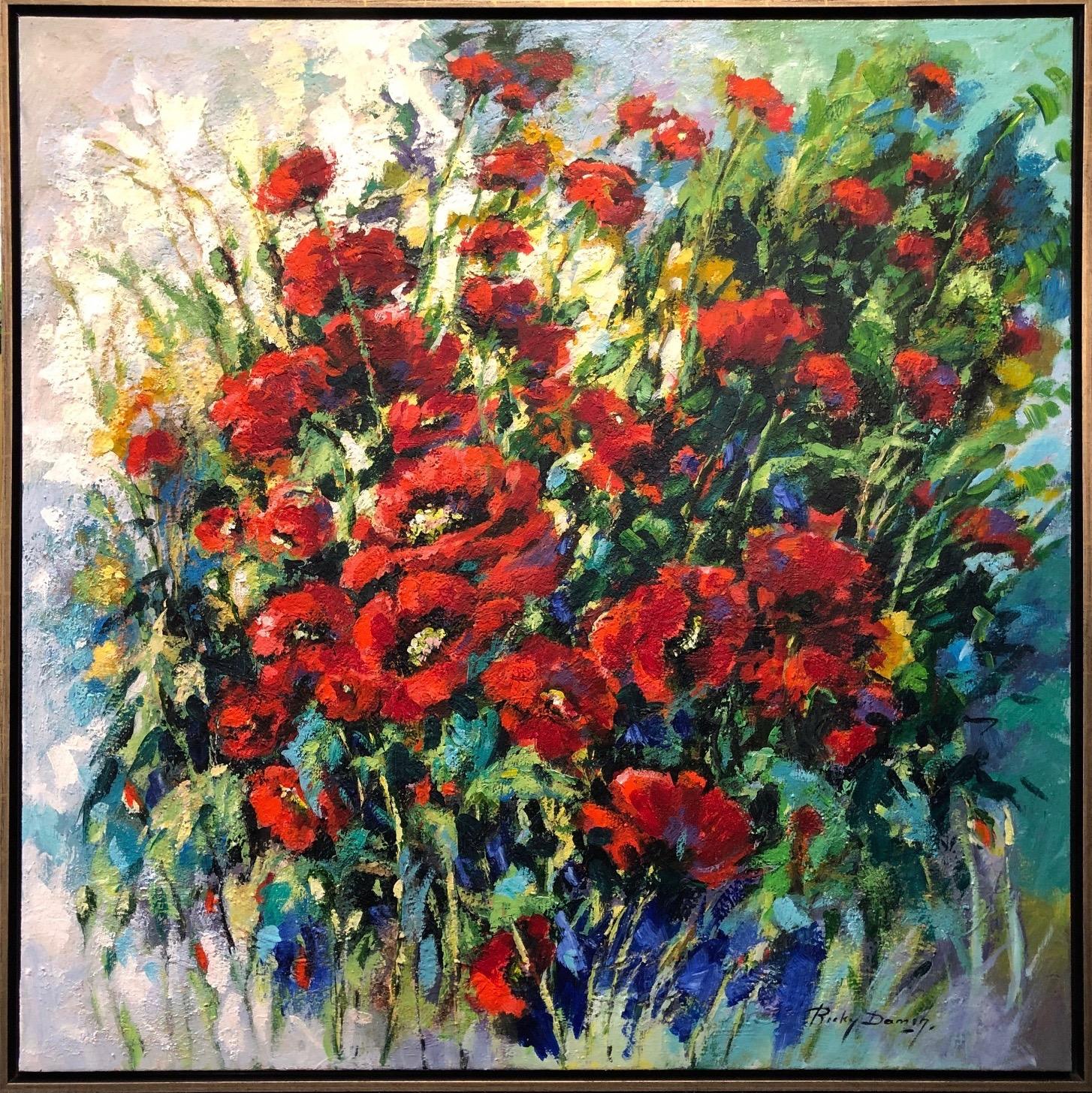 Ricky Damen schilderij 'Klaprozen'