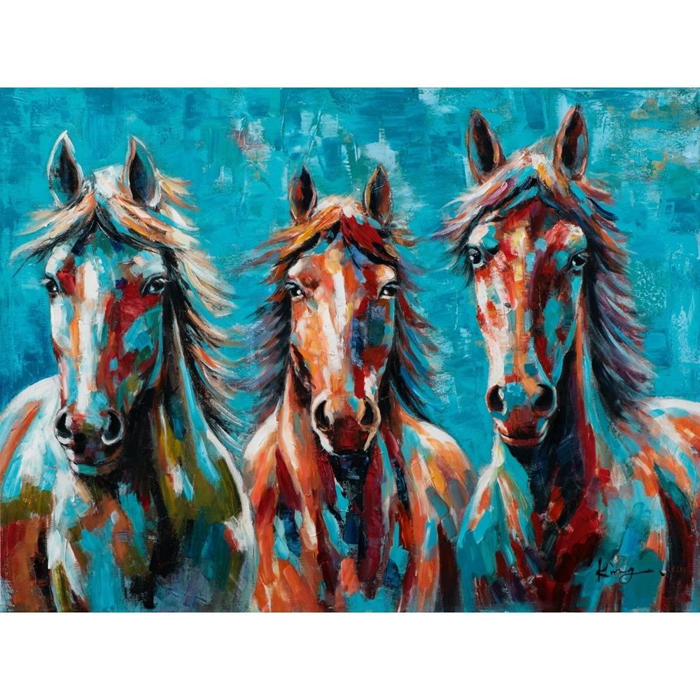 Schilderij op linnen 'Colorful Horses'