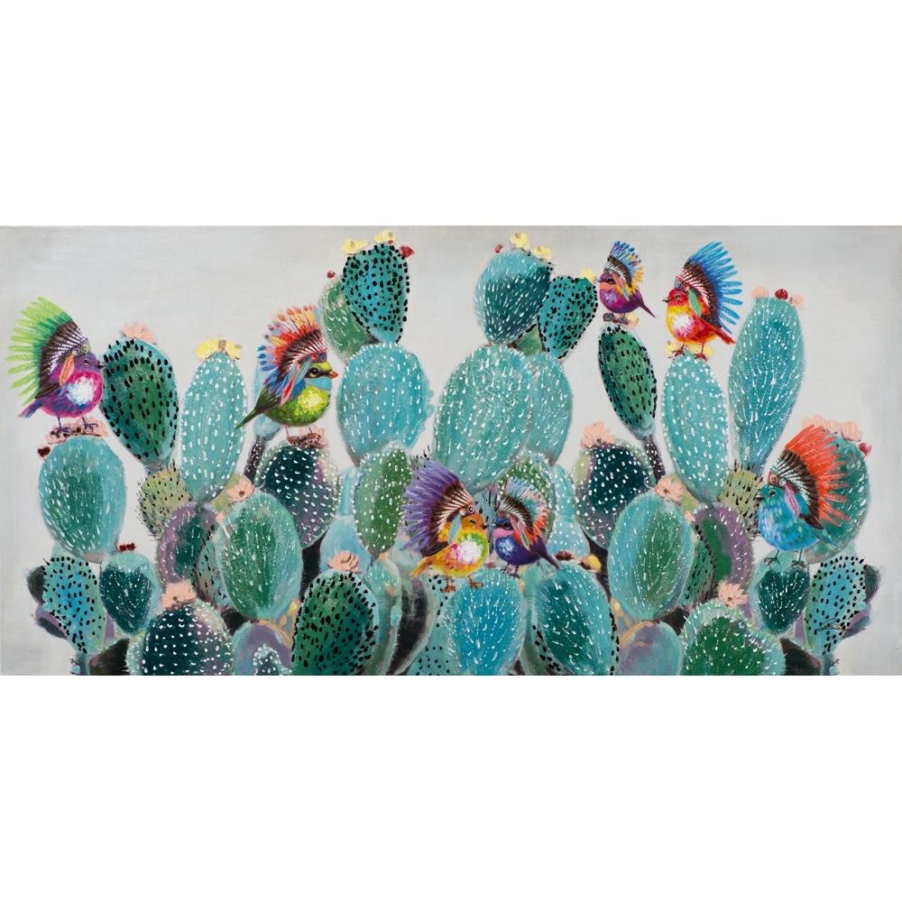 Schilderij op linnen 'Indian birds on cactus'