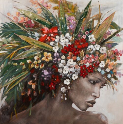Schilderij 'Woman with flower wig'