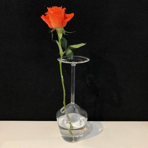 Design glas mondgeblazen vaas 'Bloemendroom'