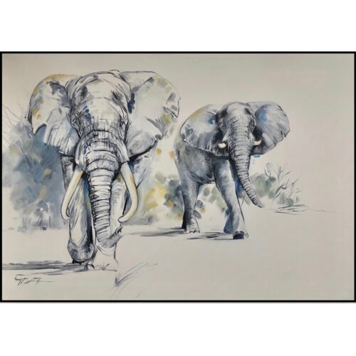 Vanessa Lomas schilderij 'Olifanten'