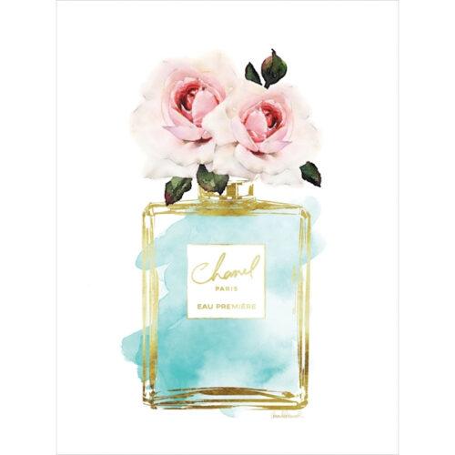 Foto op glas 'Flowers in blue Chanel parfum flacon'