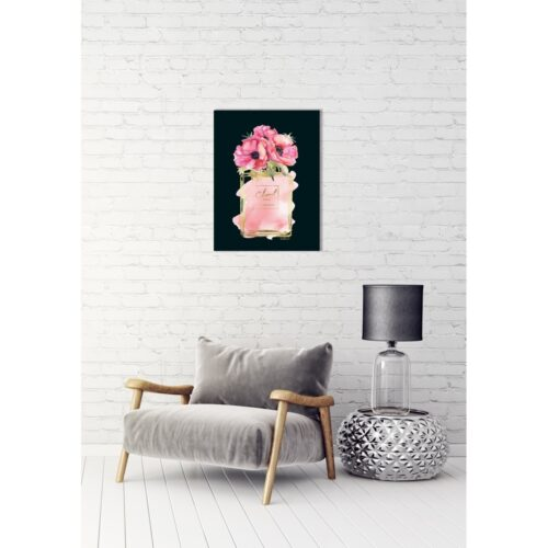 Foto op glas 'Flowers in pink Chanel flacon'