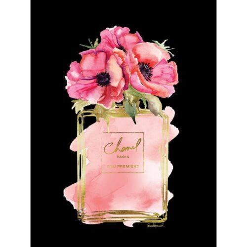 Foto op glas 'Flowers in pink Chanel parfum flacon'