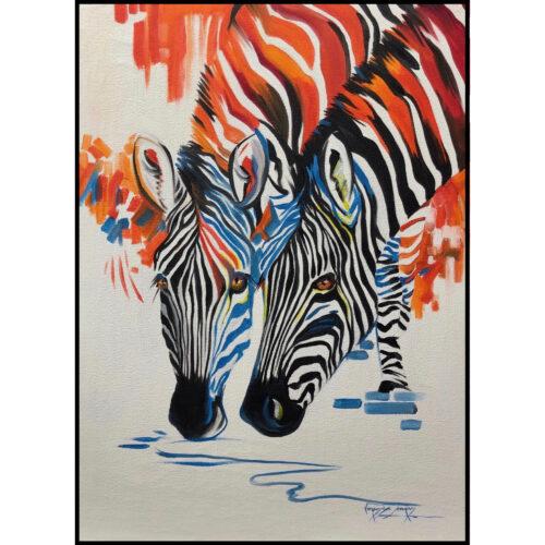 Vanessa Lomas schilderij 'Colorful Zebra'