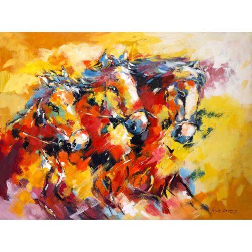Ricky Damen schilderij 'Horses'