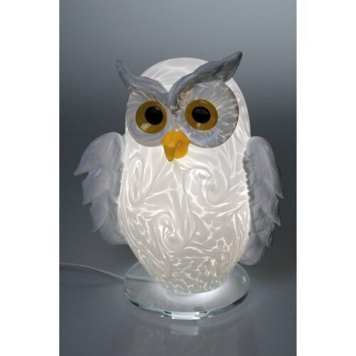 Arno France kristalglas uil lamp 'Hiboux Blanche'