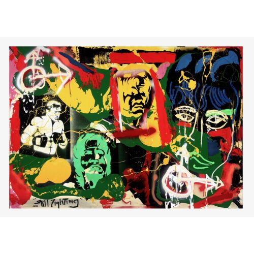 Sylvester Stallone mixed media painting 'Still Fighting'