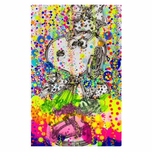 Tom Everhart mixed medium op paper 'Up Town Art Lady Bubble Bath'