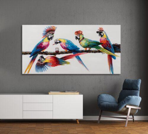Schilderij 'Party of parrots'