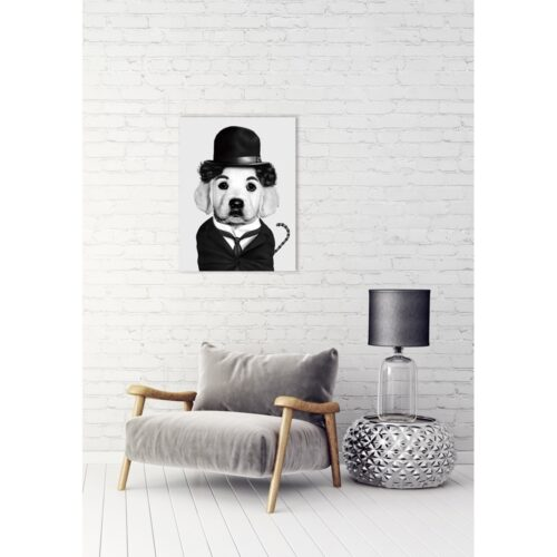 Foto op glas 'Charlie Chaplin Dog'