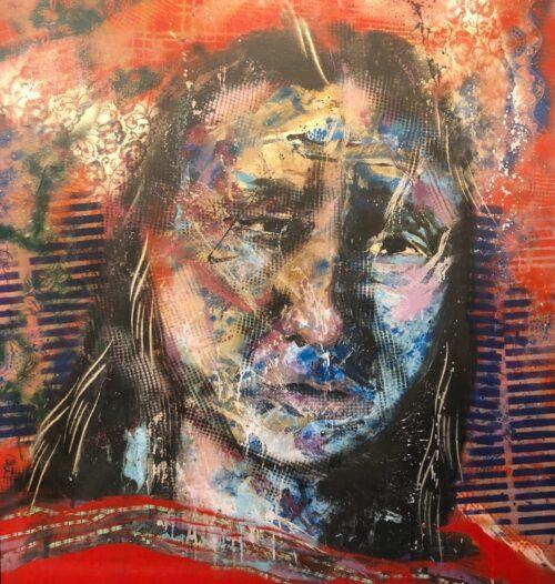 Espen Hagen origineel schilderij 'Indiaan III'