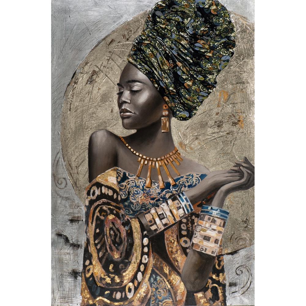 Schilderij 'Decorated beauty with turban'