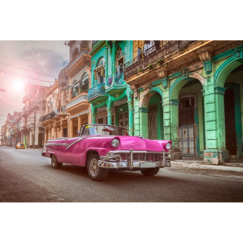 Foto op glas 'Pink car in Havanna'