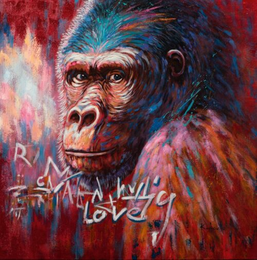 Schilderij 'Gorilla in pink and red'