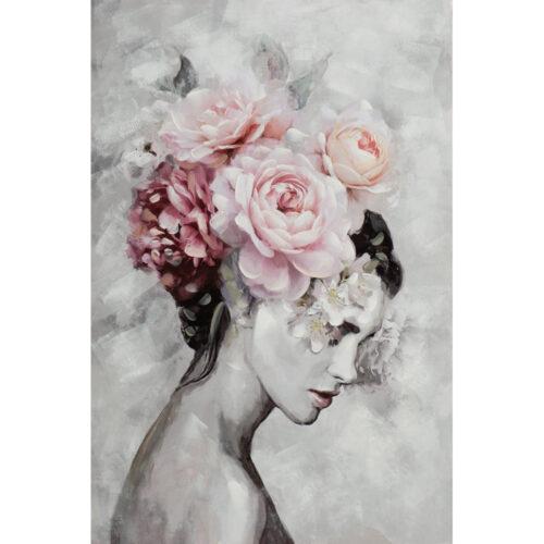 Schilderij 'Beauty with flowers'