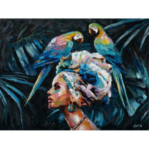 Schilderij op linnen 'Beauty with parrots'