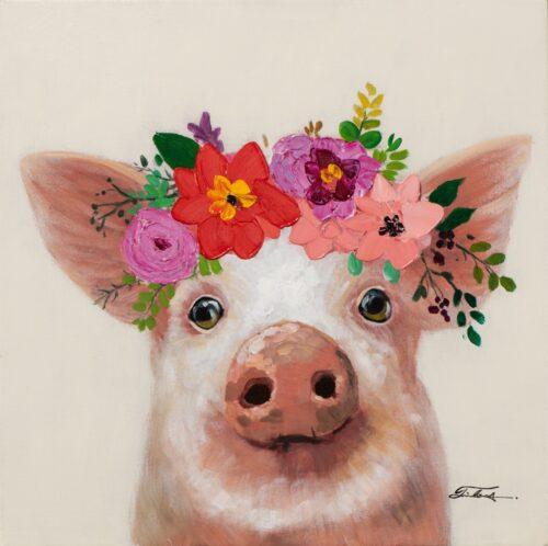 Schilderij op linnen 'Pig with flowers'