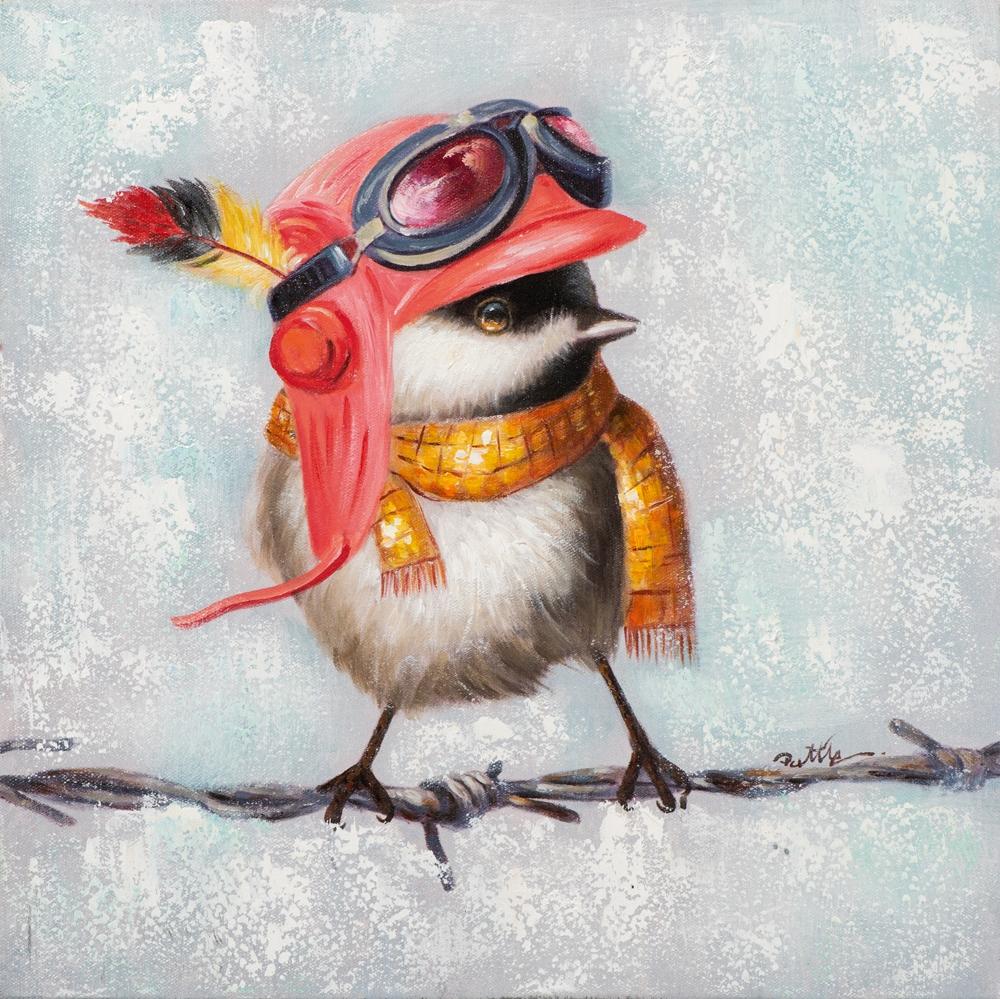 Schilderij op linnen 'Bird with cap'