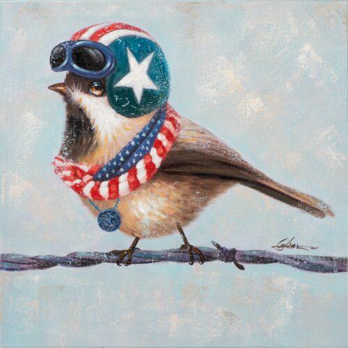 Schilderij op linnen 'Bird with helmet'