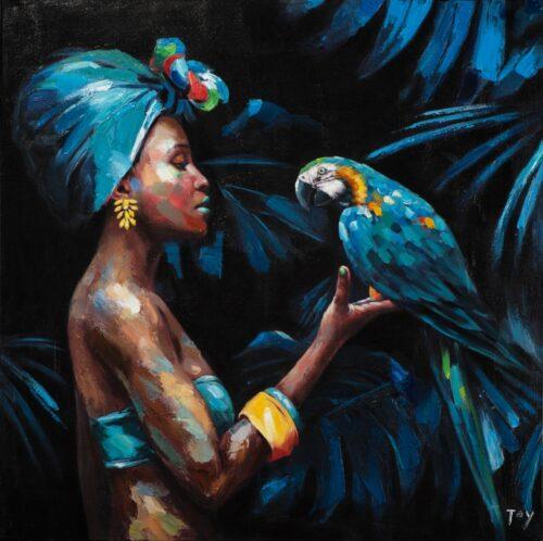 Schilderij 'Beauty with blue parrot'