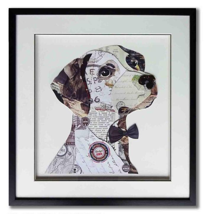 Schilderij Paper Art 'Hond met strikje'